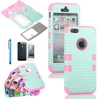 ATC Masione(TM) 3-Piece Hybrid High Impact Case Tribal Silicone for iphone 5 5th + Screen Protector + Stylus (Blue+Pink)