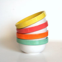 Neon Cereal Bowl Set of 4 Four > Mint Green Pink Orange Yellow Citrus Colors > Nesting Stacking > Hand Painted > Ready to Ship