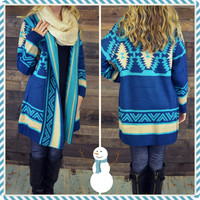 Breckenridge Ice Blue Aztec Open Cardigan
