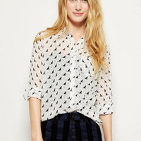 Cat Print Button-Down Chiffon Blouse