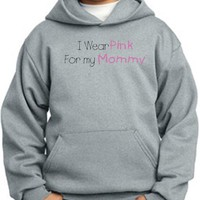 Breast Cancer Awareness Kids Hoodie Ribbon I Wear Pink for My Mommy Youth Pullover Hoody - Athletic Heather