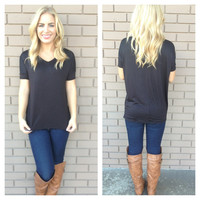 Black Basic Short Sleeve Modal Top