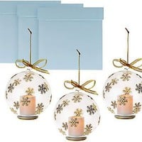 Set of 3 Candle Impressions Glass Ornaments w/ Flameless Votives & Boxes — QVC.com