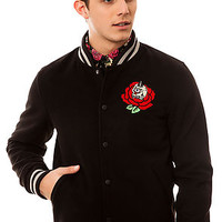 The Fragrant Varsity Jacket in Black