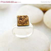 Black Friday Sale 12% off Druzy Ring,Drusy Ring,Drusy Quartz,Agate Ring,925 Sterling Silver