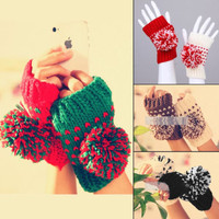 Fingerless Women Thumb Hole Winter Pom Pom Christmas Knitting Gloves Xmas Warmer