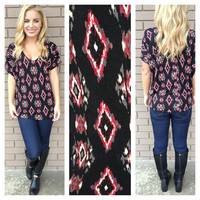 Burgundy Diamond Print Short Sleeve Top