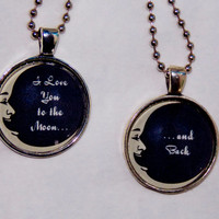 I Love You To The Moon And Back Necklace Set. Mother Daughter, Best Friends Necklace Set. 18 Inch Ball Chains.