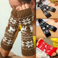 Christmas Fawn Snowflake Fingerless Women Thumb Hole Xmas Long Gloves Arm Warmer