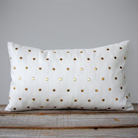 Gold Studded Pillow Cover in Cream Linen 12x20 | Polka Dot Pattern | by JillianReneDecor | Geometric Pillow | Home Decor | Gold Studs