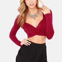 On Crop of the World Wine Red Crop Top