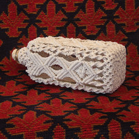 Macrame Covered Antique Square Bottle (circa 1930s)