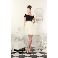 Boat Neck Short Wedding Dress with Color