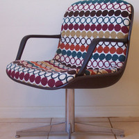 Vintage Mid Century Chair Black Vinyl and Chrome Retro Colorful Upholstery