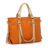 Mixing Color Emboss Simple Handbag Shoulder Bag
