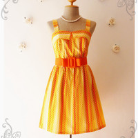 Tangerine Dress Pin Up Girl Dress Retro Polka Dot Dress Bridesmaid Dress Party Dress Cotton Dress Vintage Style Dress - Size XS-S