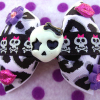 Monster High Leopard Print Skull Hair Bow