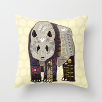 chocolate panda straw Throw Pillow by Sharon Turner