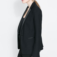 BLAZER WITH FAUX LEATHER POCKETS
