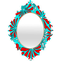 Madart Inc. Swirly Flower Aqua Red Baroque Mirror