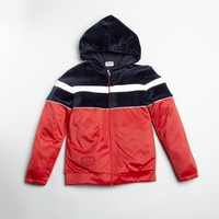 KIDS Red Colorblock Cotton Blend Zip Front Hooded Jacket