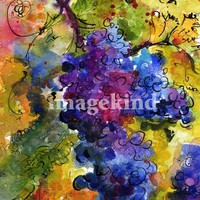 """Blue Grapes Watercolor by Ginette Callaway"" by Ginette Callaway"