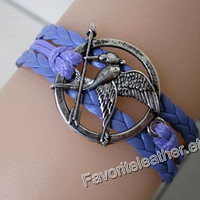 Mockingjay anklets, fire, purple leather bracelet, bird Hunger Games bracelet, leather bracelet lovers