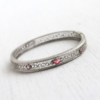 Antique Art Deco Pink Stone Filigree Bracelet - Vintage 1920s Rhodium Plated Silver Tone Hinged Bangle Jewelry / Floral Open Metal Work