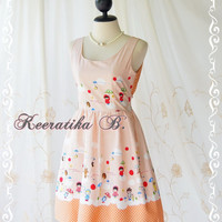 Lady Lolita - Adorable Cutie Backless Dress With Pretty Bow Tie Orange Stripe And Cartoon Print Party Dress Sundress Tea Dress