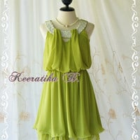 Keeratika B - Sexy Cocktail Dress Lime Green Dress Egyptian Pearl Beads Neckline Layers Skirt Prom Dress Party Dress Night Dress