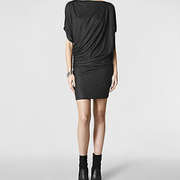 Womens Pia Jersey Dress (Charcoal) | ALLSAINTS.com