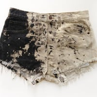 Vintage Levis Black/White Marble Patterned Customised Studded Shorts