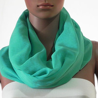 Solid Turquoise Infinity Scarf - Circle Loop Scarves - Long Shawl Scarf Soft Cozy Fashion Scarf - Gift Handmade Accessories for Women