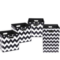 Bundled Chevron Collapsible Canvas Storage & Laundry Bins, Diaper Caddy, Closet Storage, ,Organization,