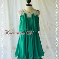 Keeratika B - Sexy Cocktail Dress Pine Green Dress Egyptian Pearl Beads Neckline Layers Skirt Prom Dress Party Dress Night Dress