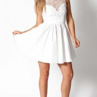 White Crochet Neckline Sleeveless Open Back Dress
