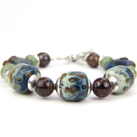 Blue Brown Green Elephant Sterling Silver Lampwork Bracelet: Elephant Walk