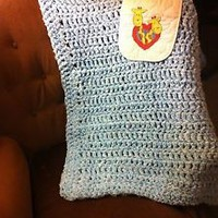 Handmade Blue Baby Blanket and giraffe Bib 1