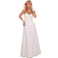 Hot From Hollywood Strapless Removable Halter Wedding Dress Full Length Floral Skirt Bridal Gown