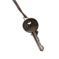 Engraved Copper Love Key Charm Necklace