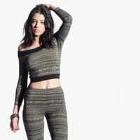 Women's Jibberish Crop Top (Olive)