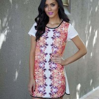 Orange Print Hi-Low Short Sleeve Shift Dress