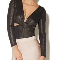 Metallic Twist-Front Bodysuit | Arden B.