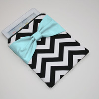iPad Case - Android - Microsoft Tablet Sleeve - Black and White Chevron Aqua Bow - Padded