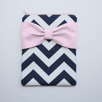 iPad Mini - Kindle - Nook - eReader Case - Navy and White Chevron Light Pink Bow - Padded