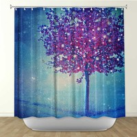 *** Song of the Winterbird * Shower Curtain Artistic Designer from DiaNoche Designs by Arist Monika Strigel Home Décor and Bathroom Ideas -