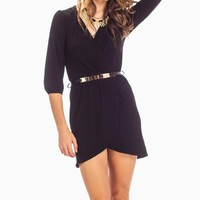 Black Wrap Dress with Gold Belt & 3/4 Sleeves