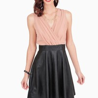 Rose Pleated V-Neck Dress with Black Faux Leather Skirt