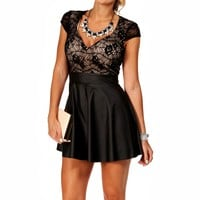 Black Faux Leather Lace Skater Dress