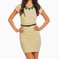 Ivory Short Sleeve Bodycon Dress